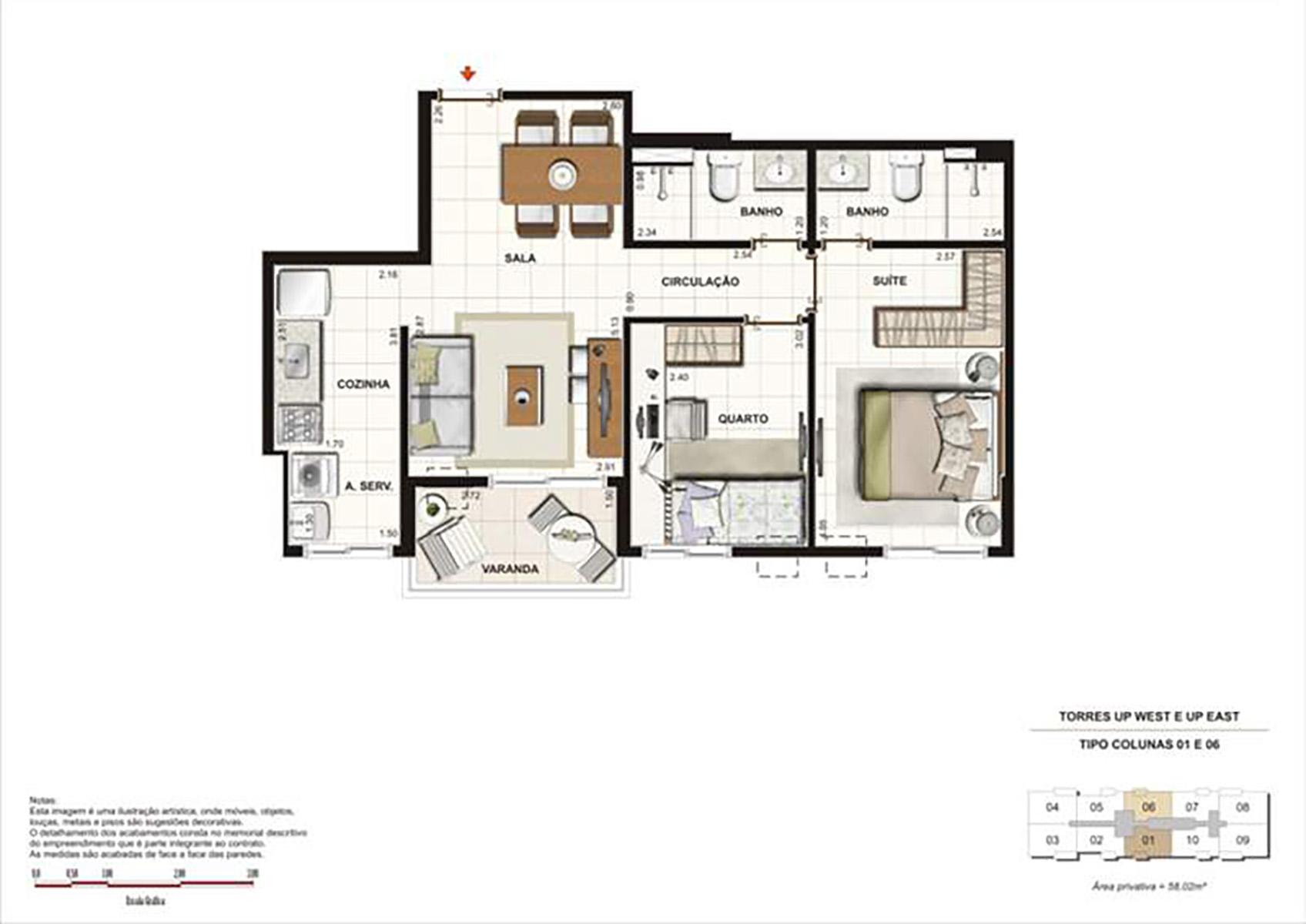 Ilustração Artística da Planta 58 m² tipo 1 Up Residence