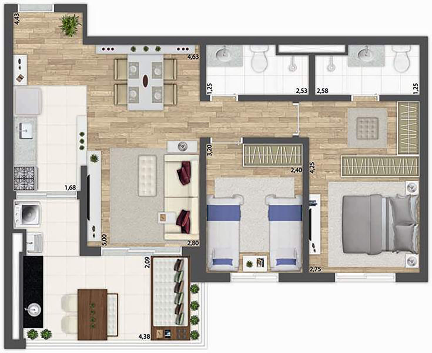 71 m² - 2 dormitórios  O2 Jardim Sul