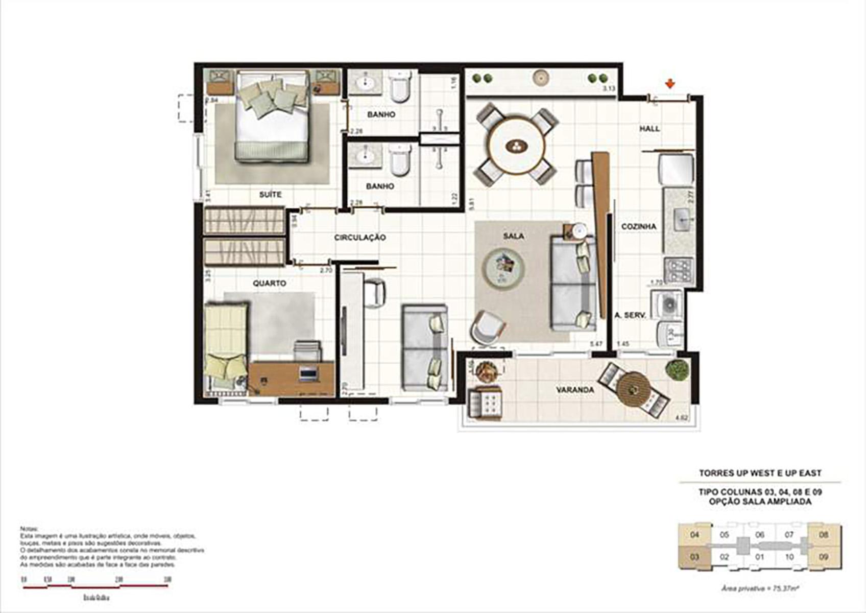 Ilustração Artística da Planta 75 m² tipo 2 Up Residence