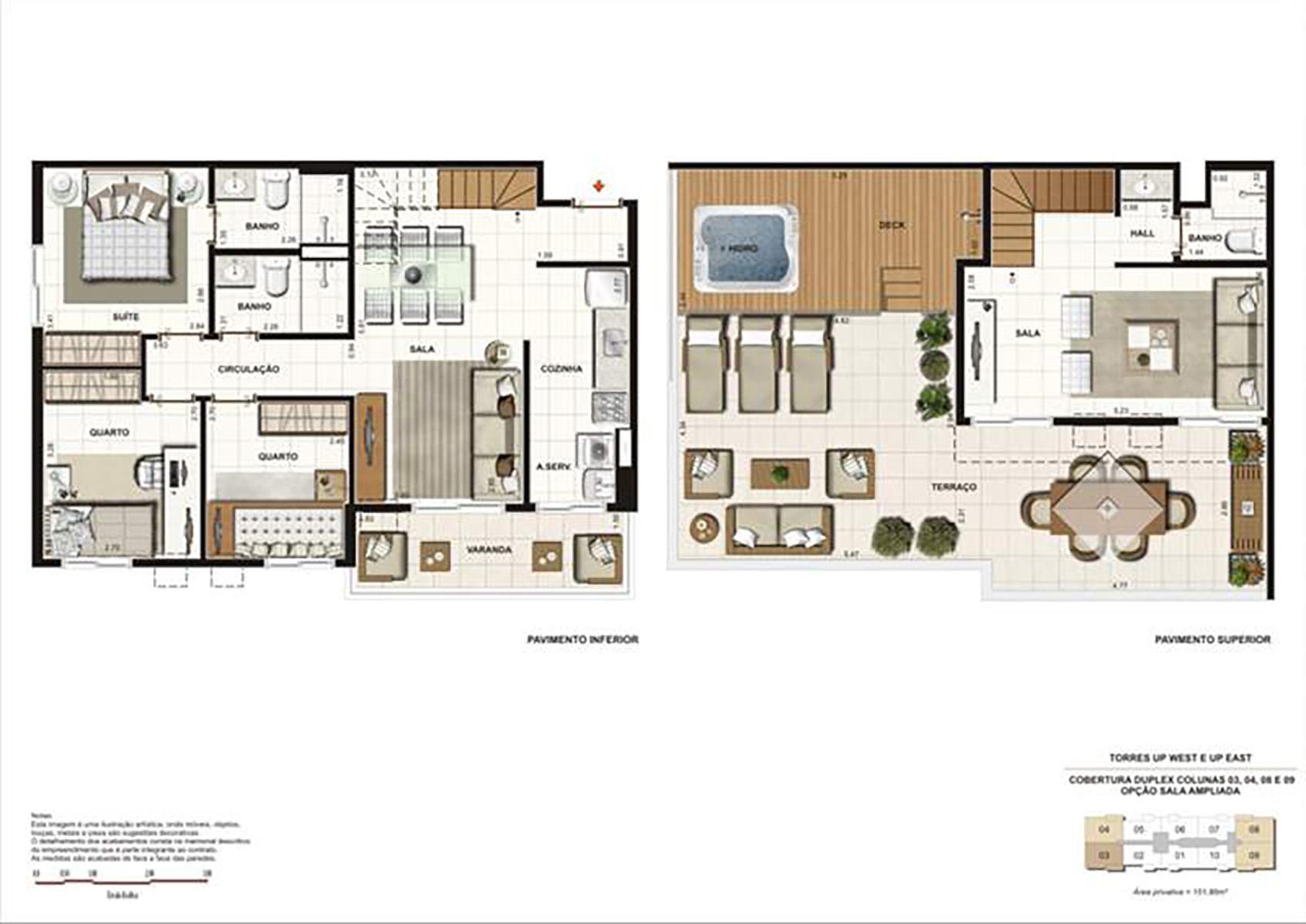 Ilustração Artística da Planta Duplex 151 m² tipo 2 Up Residence