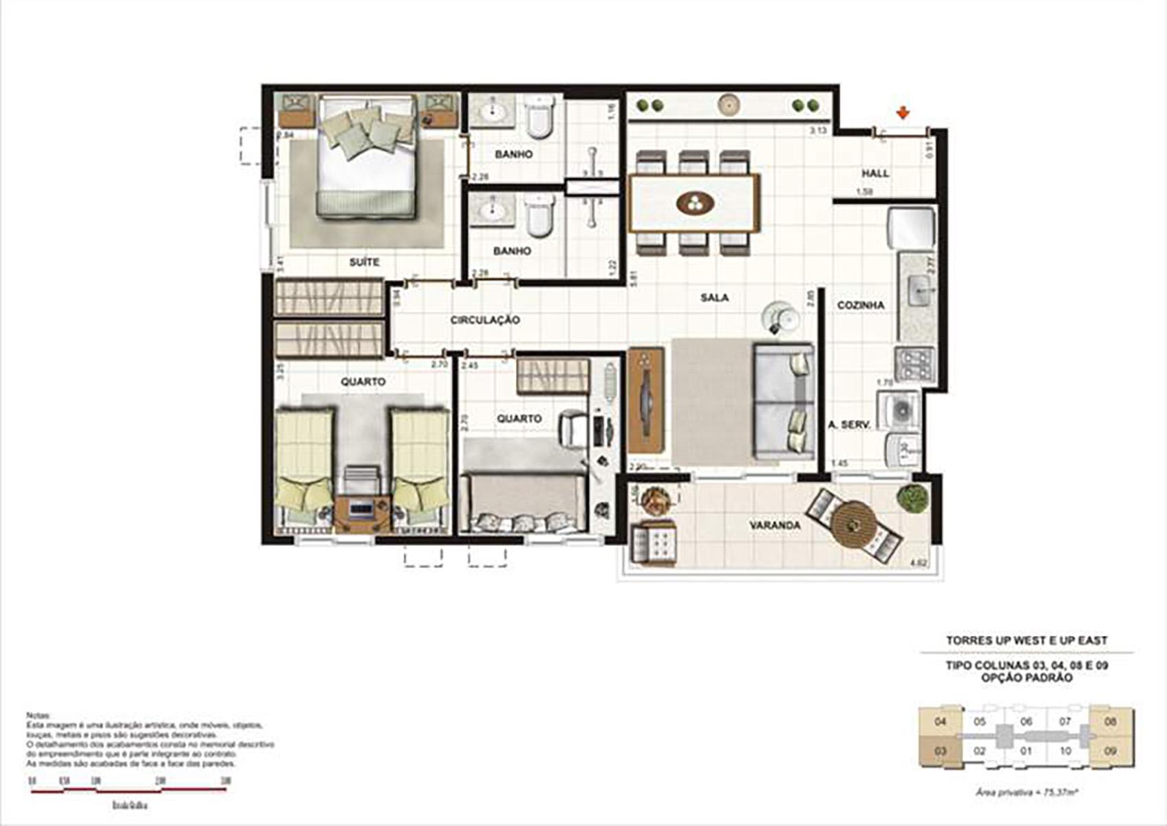Ilustração Artística da Planta 75 m² tipo 1 Up Residence