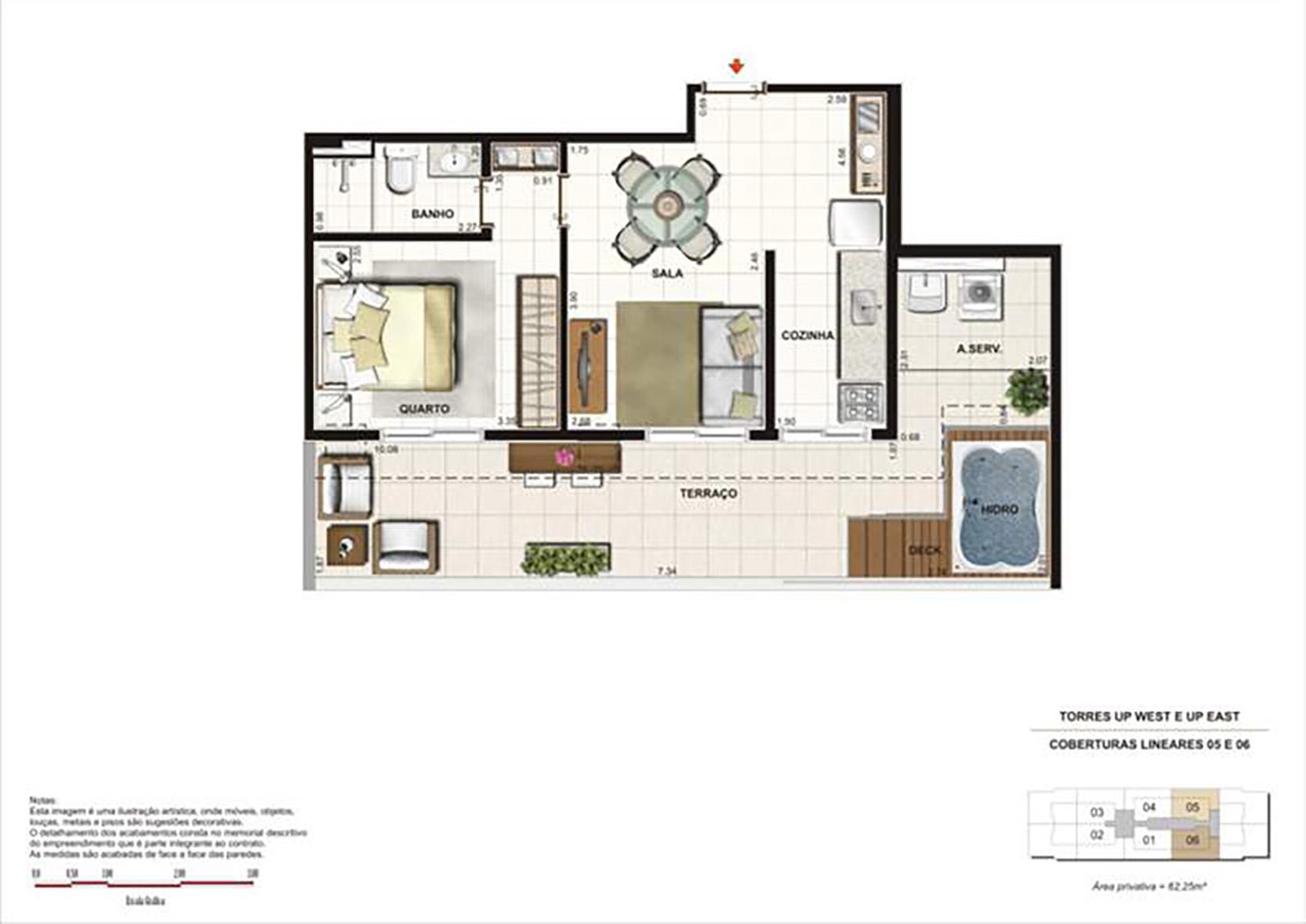 Ilustração Artística da Planta 62 m² tipo 1 Up Residence