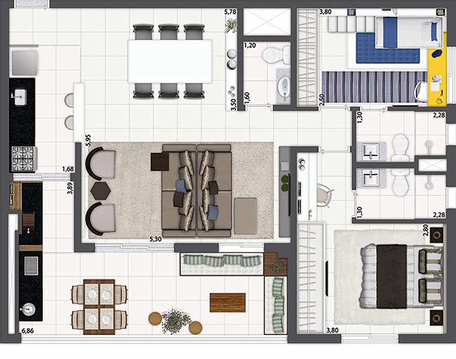 96 m² - 2 suítes - Living ampliado  O2 Jardim Sul