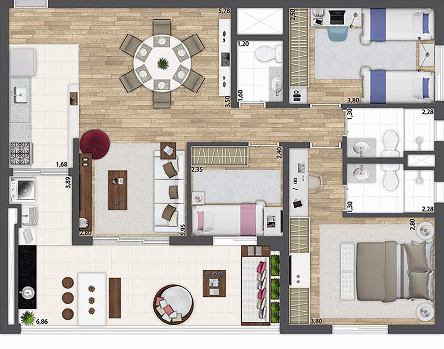 96 m² - 3 dormitórios  O2 Jardim Sul