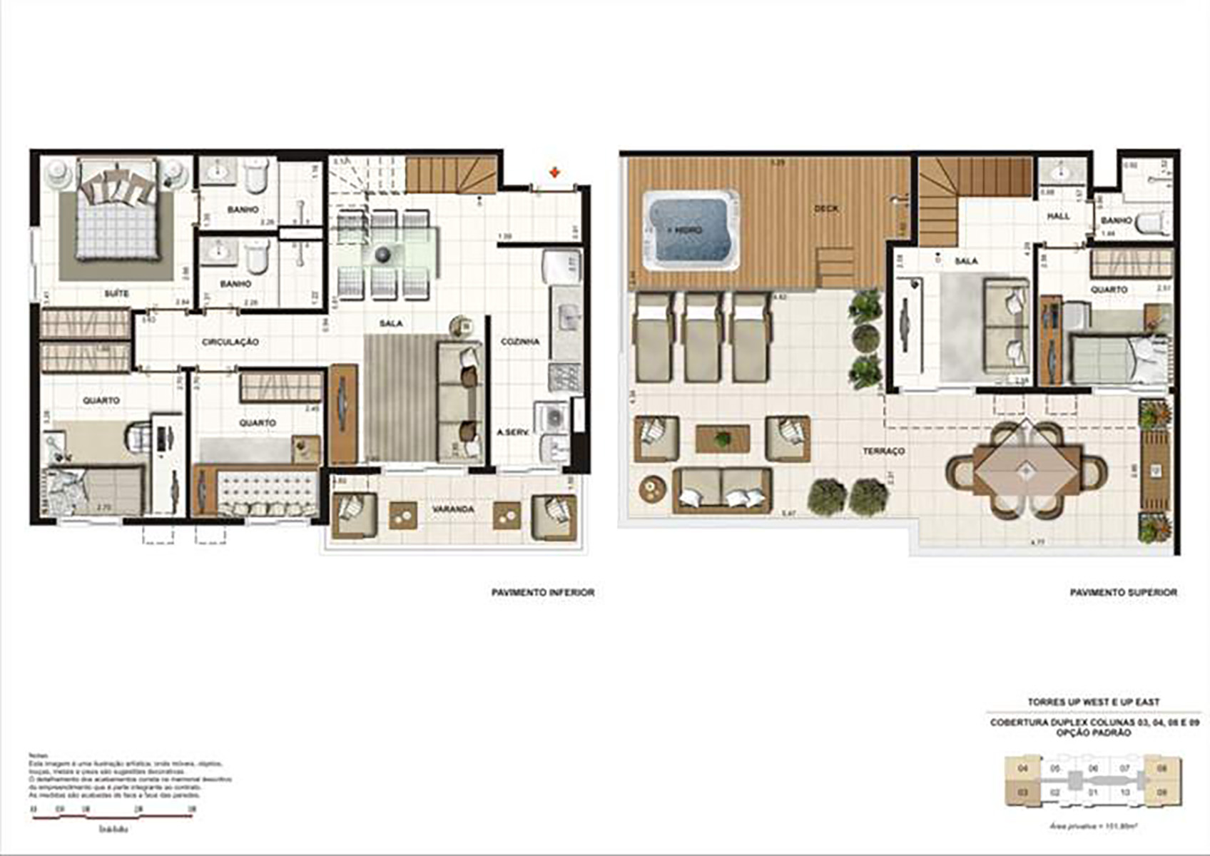 Ilustração Artística da Planta Duplex 151 m² tipo 1 Up Residence