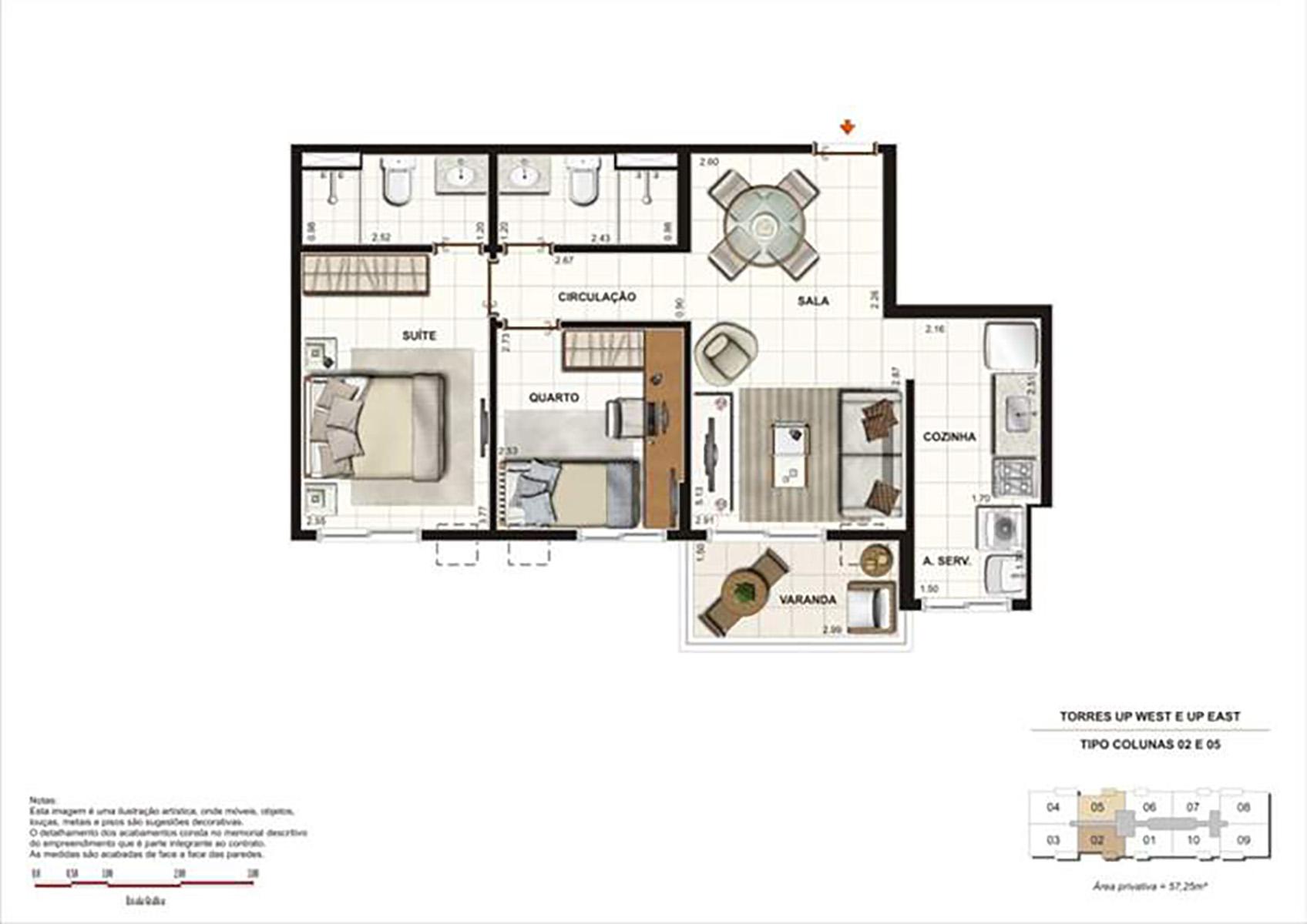 Ilustração Artística da Planta 57 m² tipo 1 Up Residence