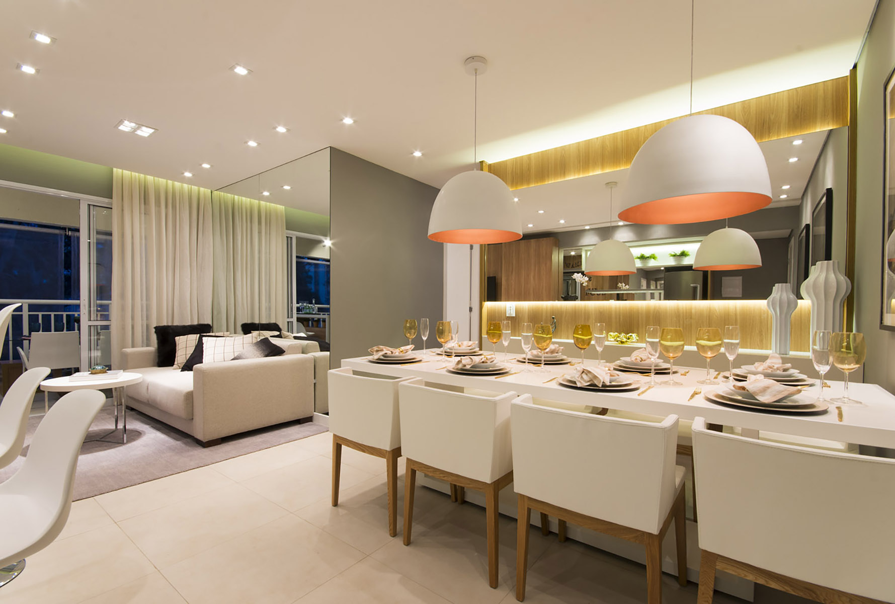 Sala de jantar e living - 96 m² O2 Jardim Sul