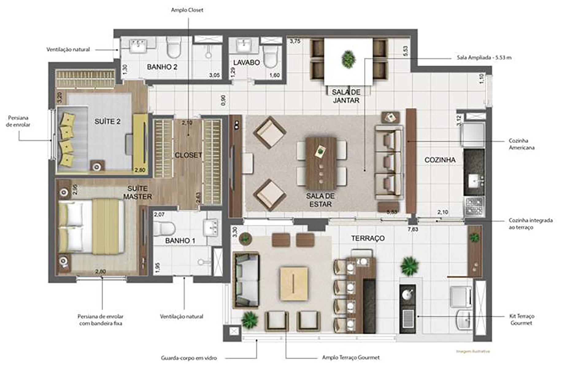 111 m² Sala Ampliada › NEW PARKER