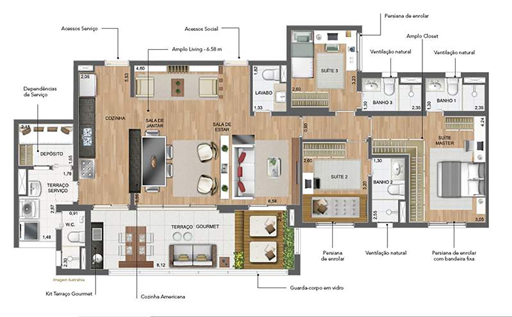 141 m² Sala Ampliada › NEW PARKER