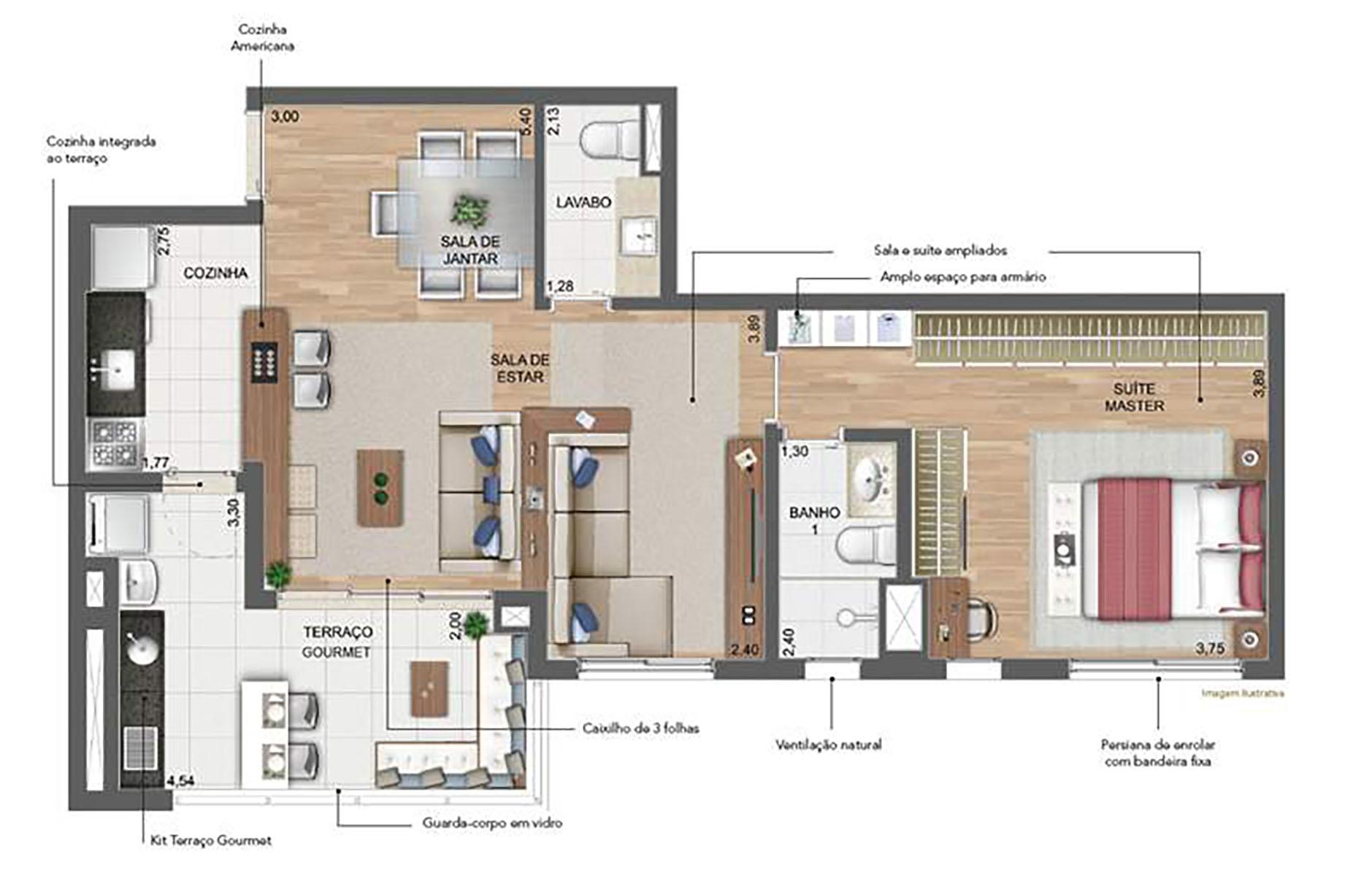 76 m² Sala Ampliada › NEW PARKER