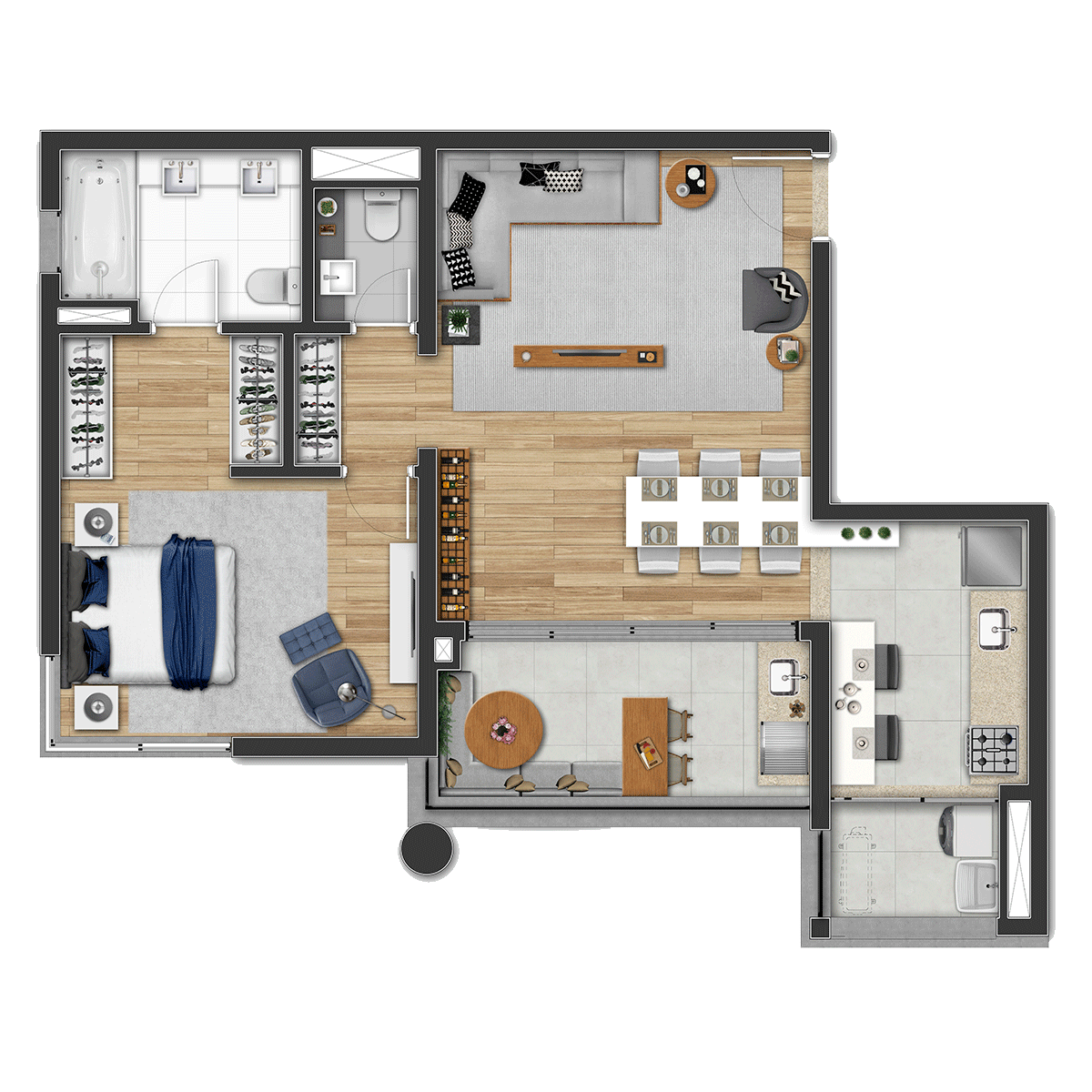 79 m² **Opção 1 1300 Jurupis
