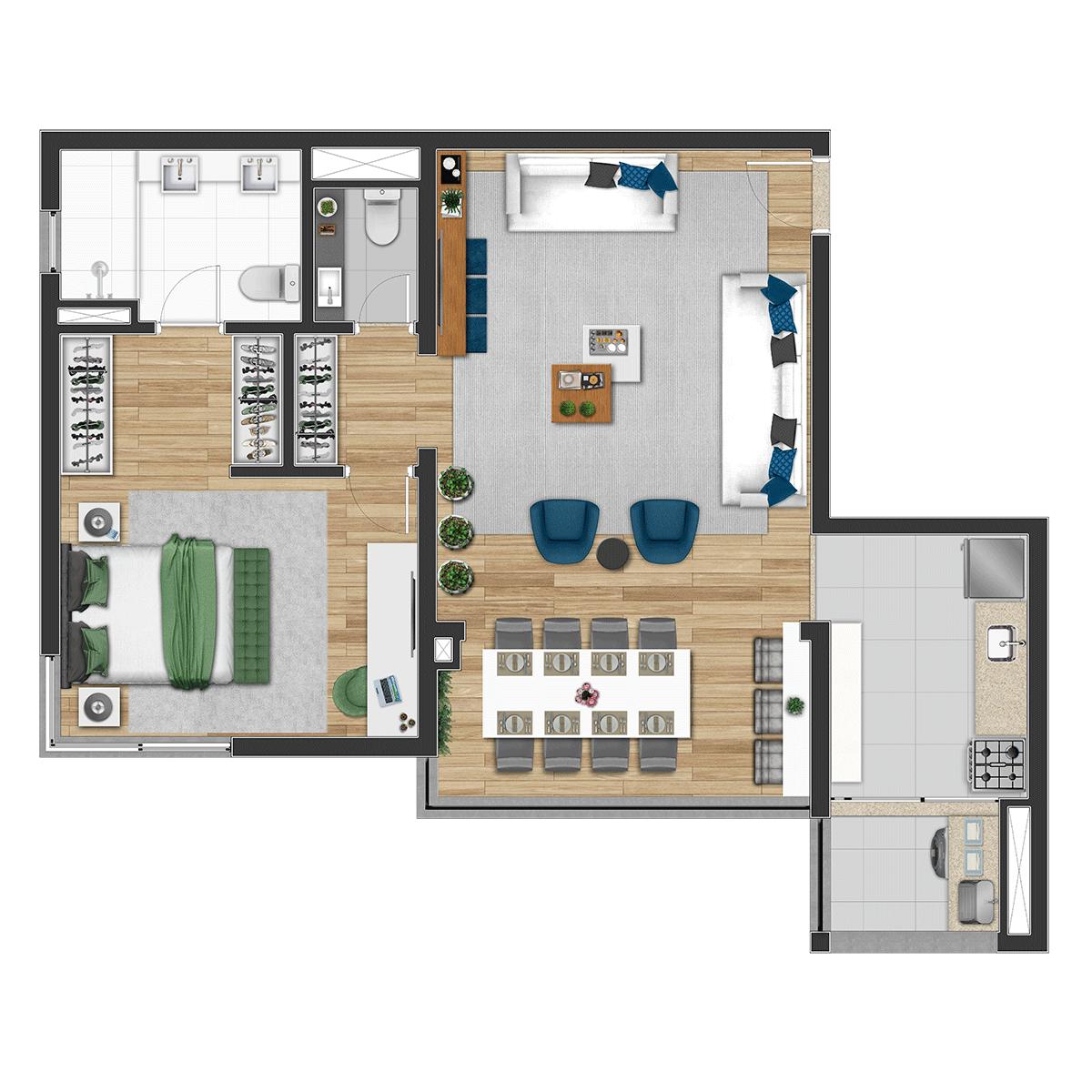 79 m² **Opção 2 1300 Jurupis