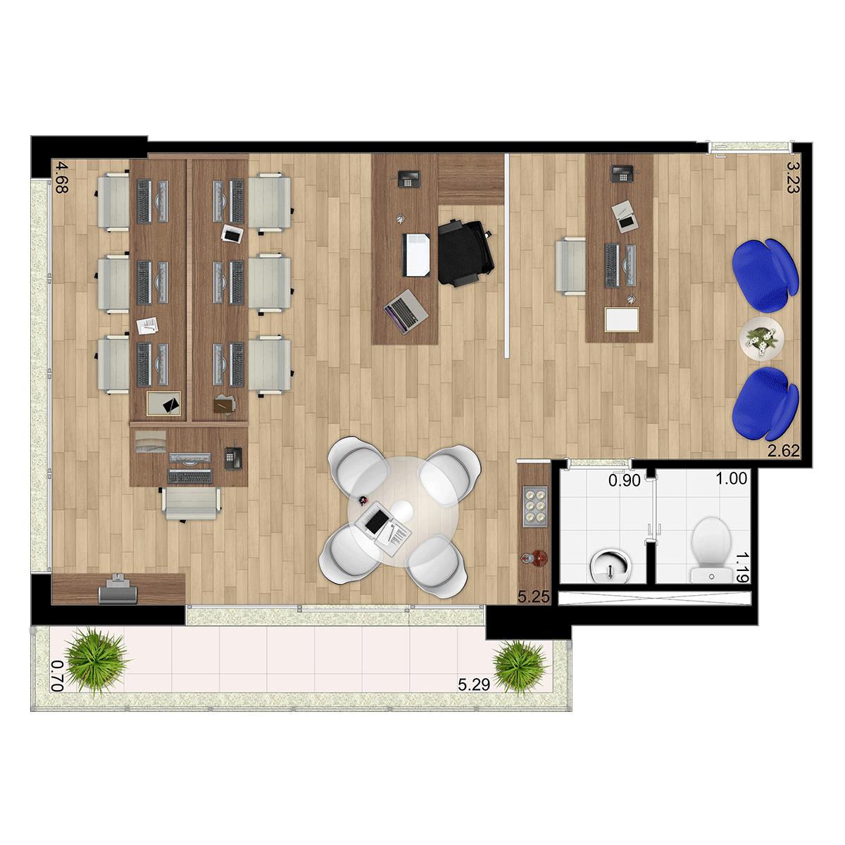 44m² Opção Sala Escritório Jurubatuba Empresarial