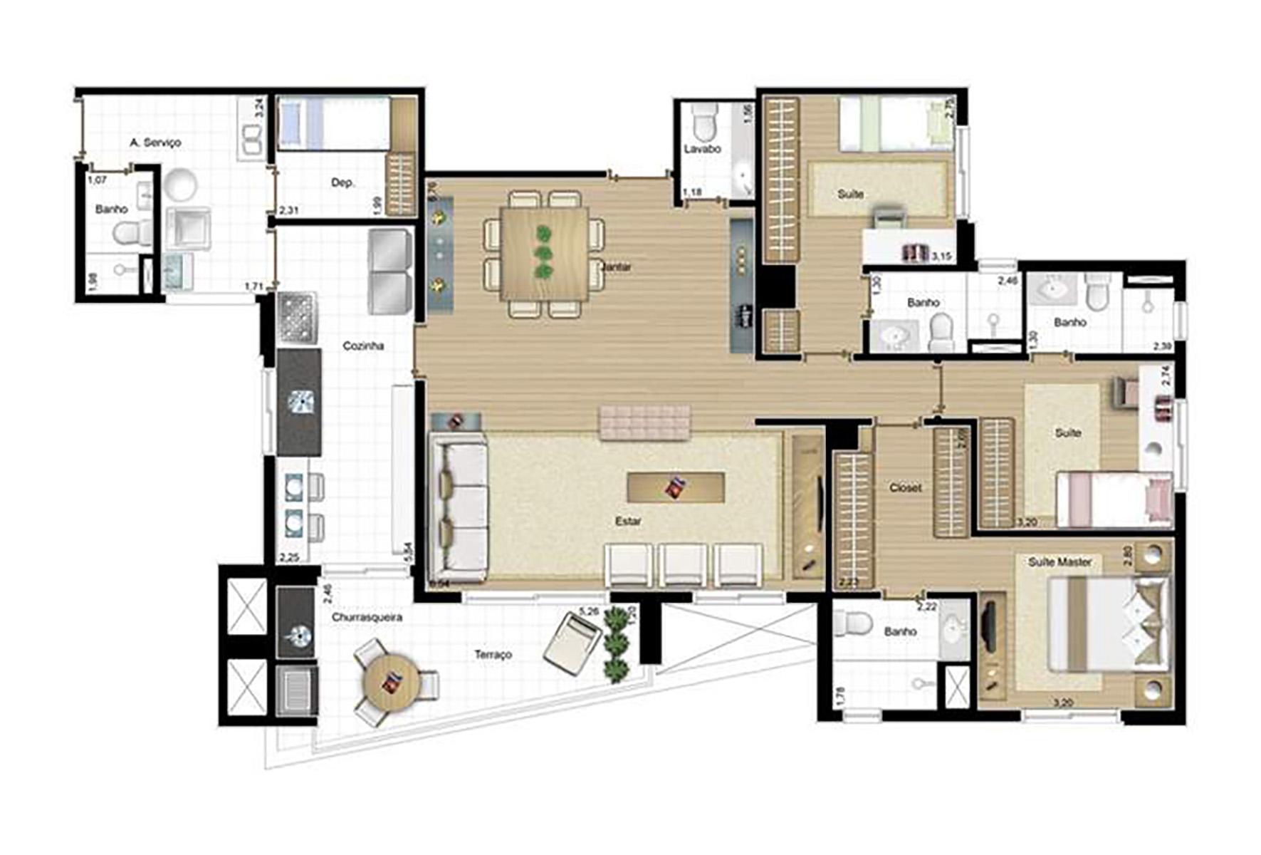 Ilustração Artística da Planta Sala Ampliada 3 suites 150m² Passarim