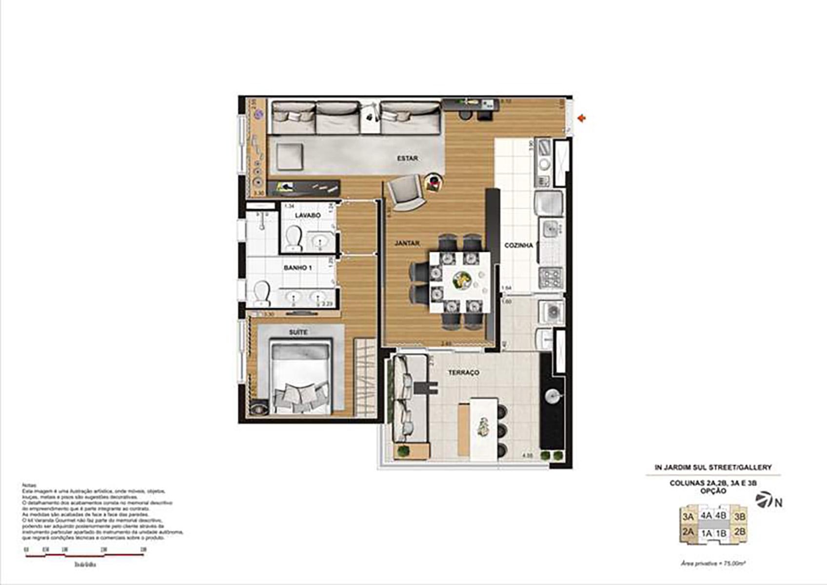 Ilustração Artística da Planta 75 m² opção 1 In Jardim Sul